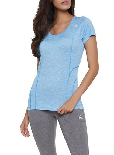 Reebok Active Tee with Decorative Stitching,BABY BLUE,large