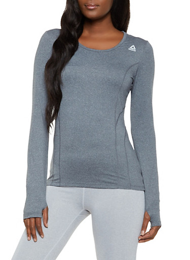 Reebok Active Top with Decorative Stitch,CHARCOAL,large