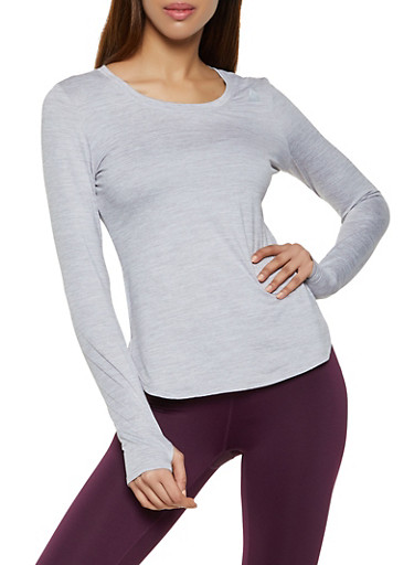 Reebok Scoop Neck Active Top,SILVER,large