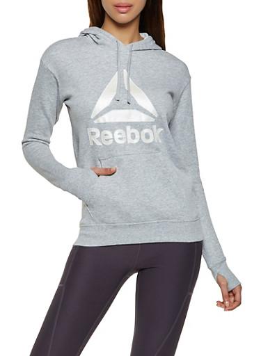 Reebok Hooded Pullover Sweatshirt,HEATHER,large