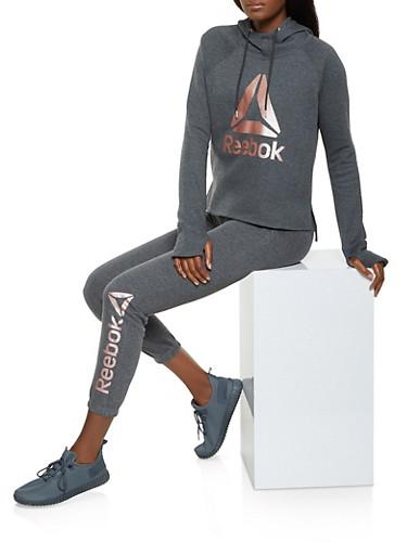 Reebok Fleece Lined Hooded Sweatshirt,CHARCOAL,large