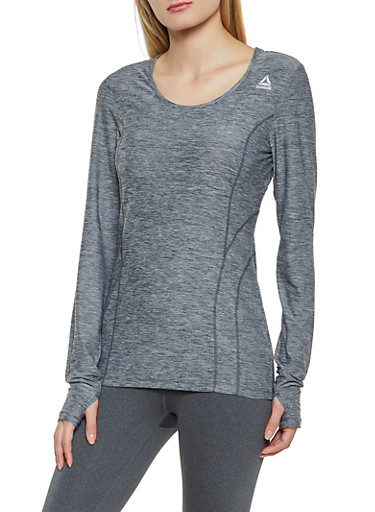 Reebok Marled Long Sleeve Active Top,BLACK,large