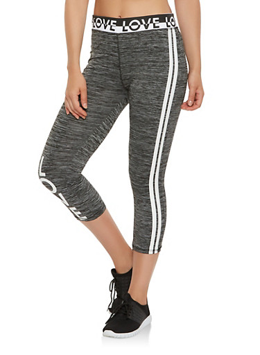 Love Graphic Active Capri Leggings,CHARCOAL,large