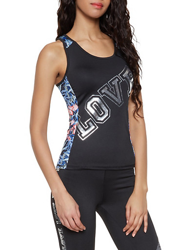 Love Graphic Activewear Tank Top,BLACK,large
