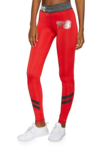 NYC Activewear Leggings,RED,large