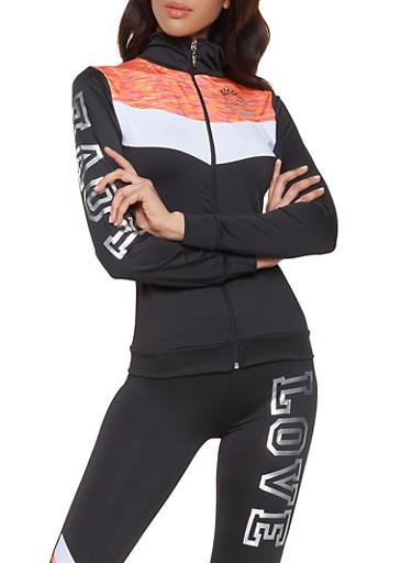 Love Zip Front Activewear Top,BLACK,large