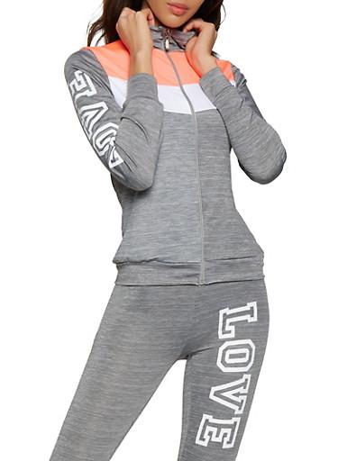 Love Zip Front Activewear Top,CORAL,large