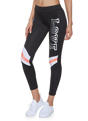 Printed Love Graphic Activewear Leggings,BLACK,large