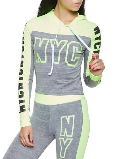 NYC Graphic Activewear Sweatshirt,LIME,large