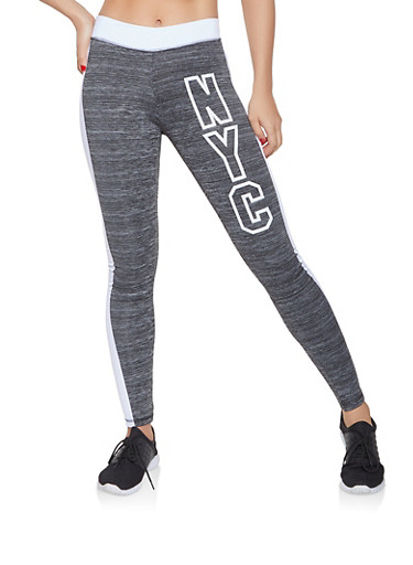 NYC Graphic Activewear Leggings,CHARCOAL,large