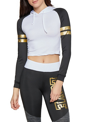 Cropped Color Block Hooded Activewear Top,WHT-BLK,large