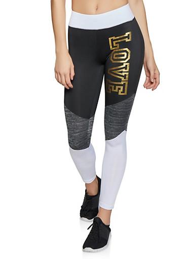 Love Tri Tone Activewear Leggings,WHT-BLK,large