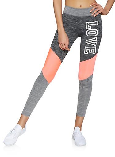 Love Color Block Activewear Leggings,CORAL,large