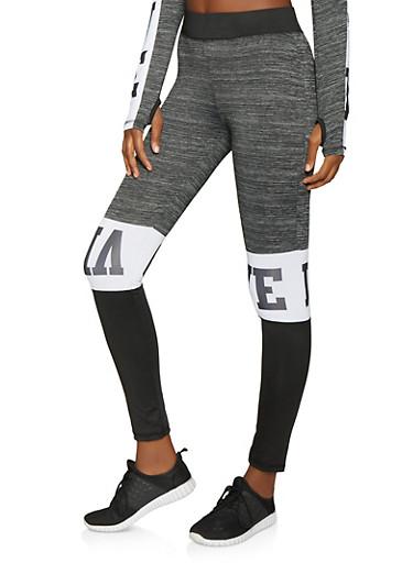 Love Color Block Activewear Pants,BLACK,large