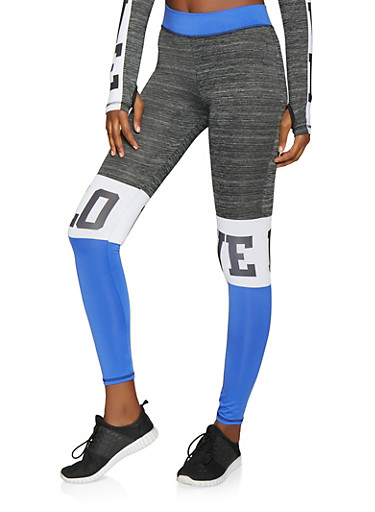 Love Color Block Activewear Pants,BLUE,large