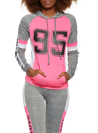 95 Love Graphic Hooded Active Sweatshirt,PINK,large