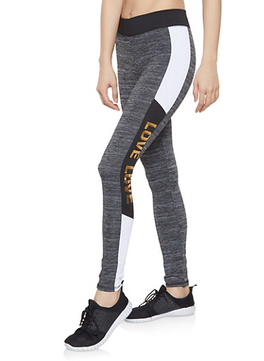 Love Color Block Activewear Leggings,BLACK,large