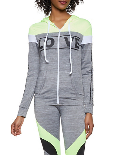 Love Graphic Activewear Sweatshirt,LIME,large