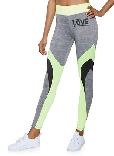 Tri Tone Love Graphic Activewear Leggings,LIME,large