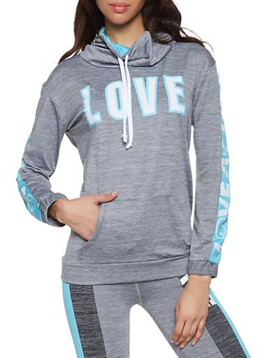 Love Graphic Activewear Sweatshirt,BLUE,large