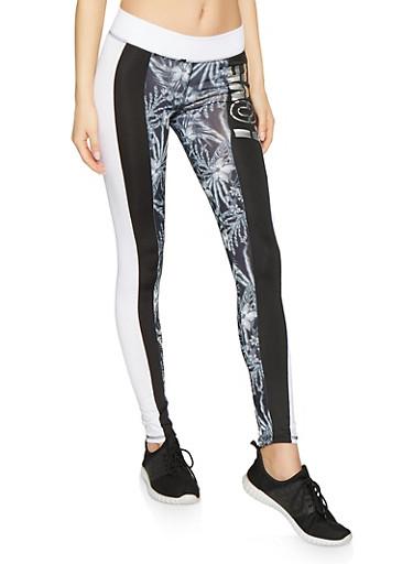 Love Graphic Color Block Activewear Leggings,BLK PTN,large
