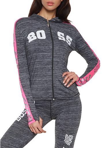 Boss Foil Graphic Activewear Sweatshirt,PINK,large