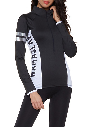 Namaslay Graphic Activewear Sweatshirt,BLACK/WHITE,large