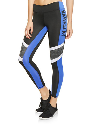 Namaslay Graphic Activewear Leggings,BLACK/WHITE,large