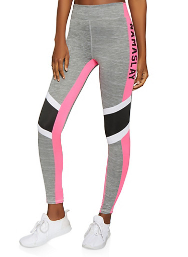 Namaslay Graphic Activewear Leggings,PINK,large