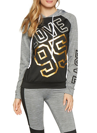 Love 95 Graphic Activewear Sweatshirt,BLACK,large