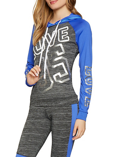 Love 95 Graphic Activewear Sweatshirt,BLUE,large