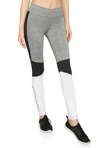 Love 95 Graphic Activewear Leggings,BLACK,large