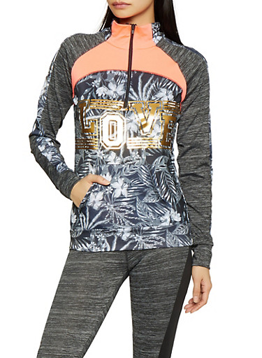 Love Graphic Activewear Sweatshirt,BLK PTN,large