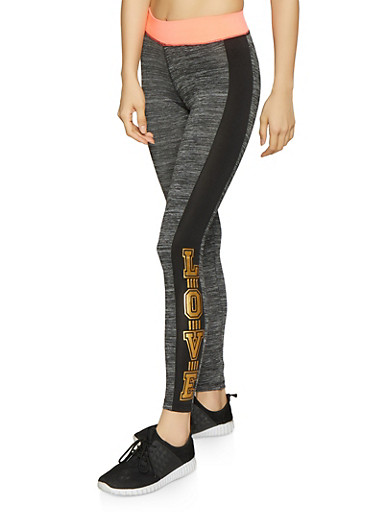 Love Graphic Activewear Leggings,BLK PTN,large