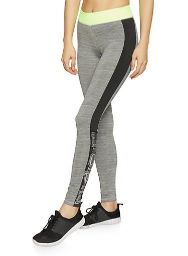 Foil Love Graphic Activewear Leggings,LIME,large