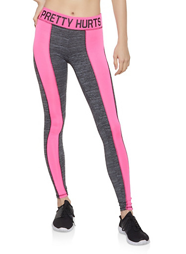 Color Block Pretty Hurts Graphic Leggings,PINK,large