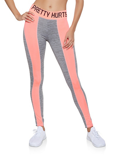Color Block Pretty Hurts Graphic Leggings,CORAL,large