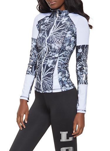 Love Graphic Zip Front Jacket,BLK PTN,large