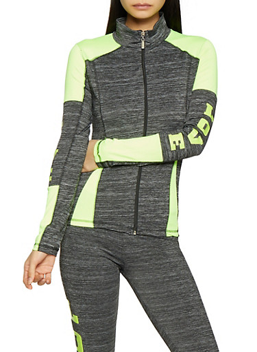 Love Graphic Zip Front Jacket,LIME,large