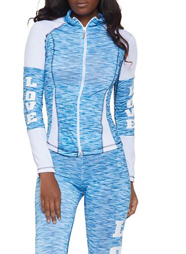 Love Graphic Zip Front Jacket,BLUE,large
