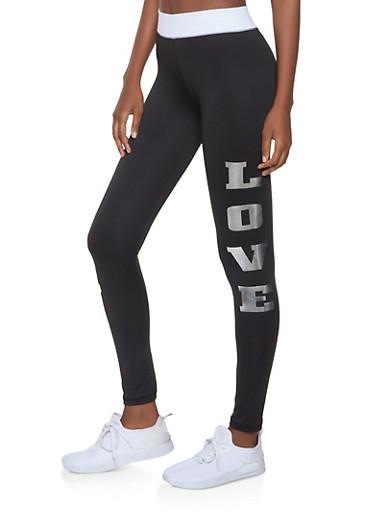 Love Graphic Activewear Leggings | 1058038346141,BLK PTN,large