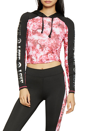 Love Graphic Hooded Activewear Top,PINK,large
