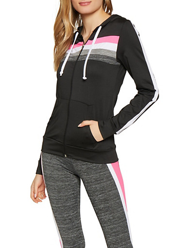Marled Zip Front Activewear Sweatshirt,CHARCOAL,large