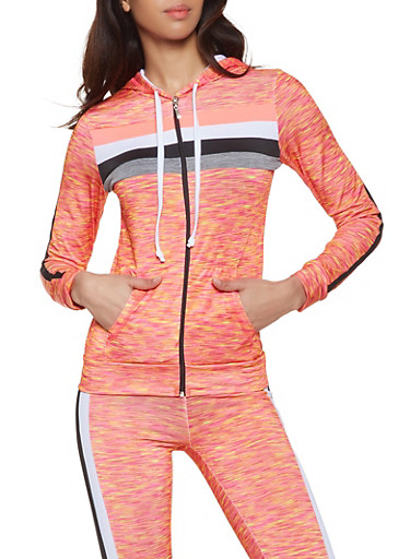 Marled Zip Front Activewear Sweatshirt,FUCHSIA,large