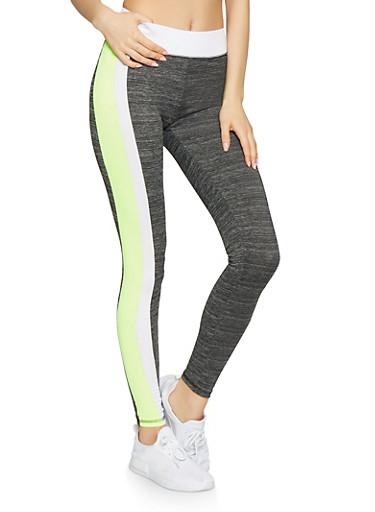 Marled Contrast Trim Activewear Leggings,BLACK,large