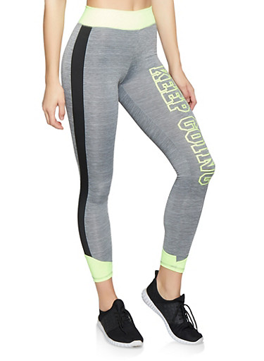 Keep Going Color Block Activewear Leggings,LIME,large