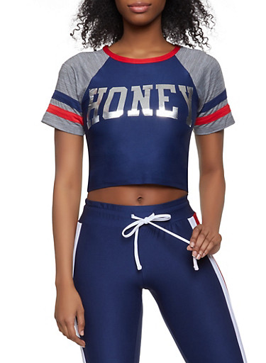 Honey Graphic Active Tee,NAVY,large