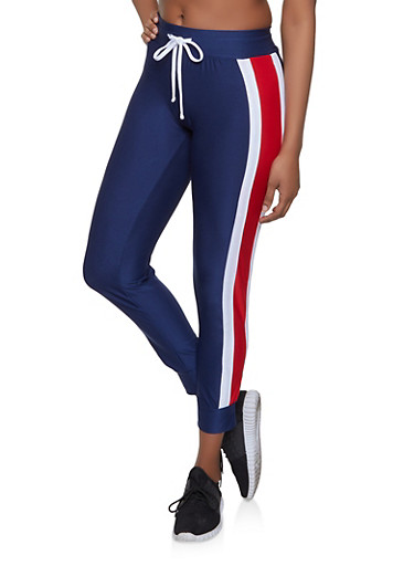 Side Stripe Trim Active Joggers,NAVY,large