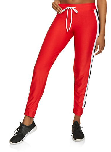 Side Stripe Trim Active Joggers,RED,large