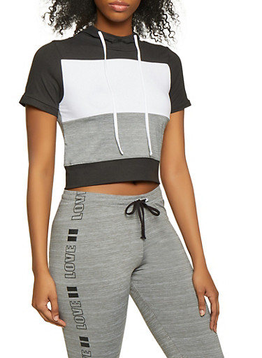 Hooded Color Block Activewear Top,GRAY,large